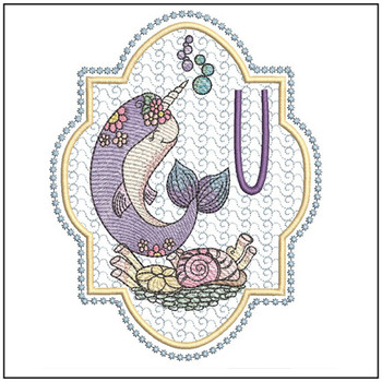 Narwhal ABC's - U -  Machine Embroidery Design
