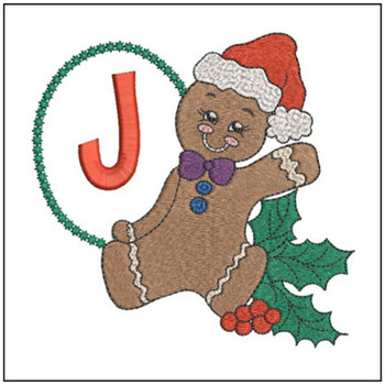 Gingerbread Man ABC's - J - Embroidery Designs