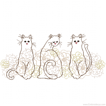 Three Lazy Kitties Border - Embroidery Designs