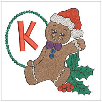 Gingerbread Man ABC's - K - Embroidery Designs
