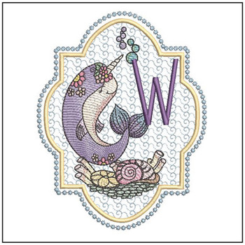 Narwhal ABC's - W -  Machine Embroidery Design
