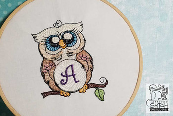 "Owl ABC's - A - Fits in a 4x4"" Hoop - Instant Downloadable Machine Embroidery"