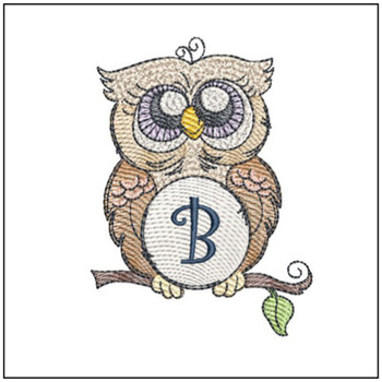"Owl ABC's - B- Fits in a 4x4"" Hoop - Instant Downloadable Machine Embroidery"