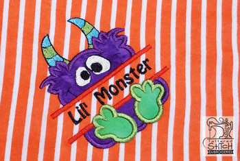"Lil' Monster- Fits in a 4x4 & 5x7"" Hoop - Instant Downloadable Machine Embroidery"