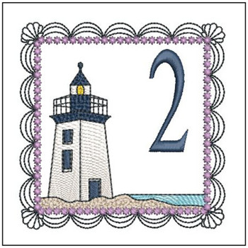 "Lighthouse ABC's - 2 - Fits in a 5x7"" Hoop - Applique - Instant Downloadable Machine Embroidery"