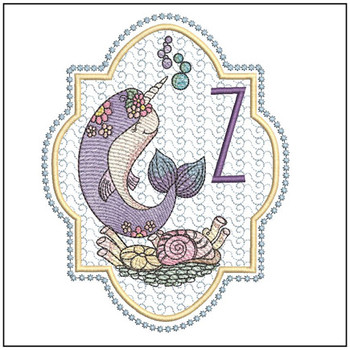 "Narwhal ABC's - Z - Fits in a 5x7"" Hoop - Instant Downloadable Machine Embroidery"