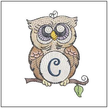 "Owl ABC's - C - Fits in a 4x4"" Hoop - Instant Downloadable Machine Embroidery"