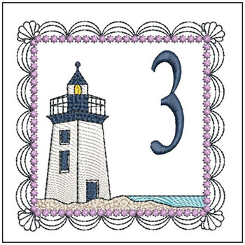 "Lighthouse ABC's - 3 - Fits in a 5x7"" Hoop - Applique - Instant Downloadable Machine Embroidery"