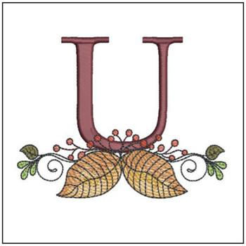 Aspen Leaf ABC's - U - Embroidery Designs