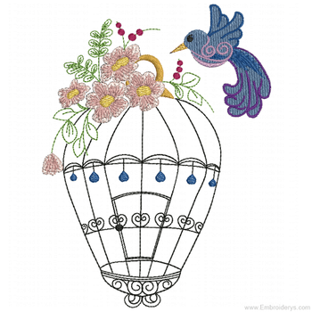 Birdcage with Hummingbird - Embroidery Designs