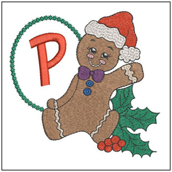 "Gingerbread Man ABC's - P - Fits in a 5x7"" Hoop - Instant Downloadable Machine Embroidery"