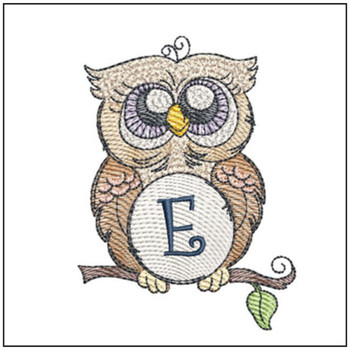 "Owl ABC's - E - Fits in a 4x4"" Hoop - Instant Downloadable Machine Embroidery"