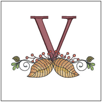 Aspen Leaf ABC's - V - Embroidery Designs