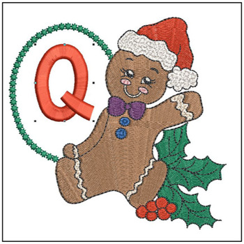 Gingerbread Man ABC's - Q - Embroidery Designs