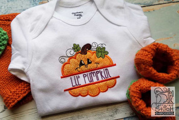 "Lil' Pumpkin- Fits in a 4x4 & 5x7"" Hoop - Instant Downloadable Machine Embroidery"