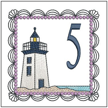 "Lighthouse ABC's - 5 - Fits in a 5x7"" Hoop - Applique - Instant Downloadable Machine Embroidery"