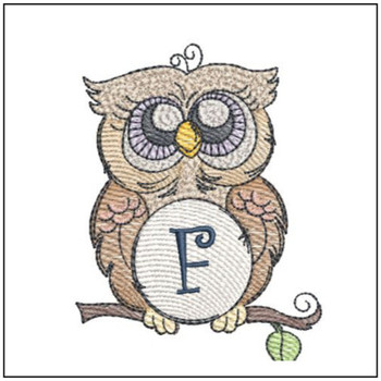 "Owl ABC's - F - Fits in a 4x4"" Hoop - Instant Downloadable Machine Embroidery"
