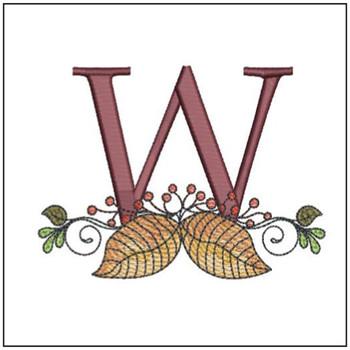 Aspen Leaf ABC's - W - Embroidery Designs