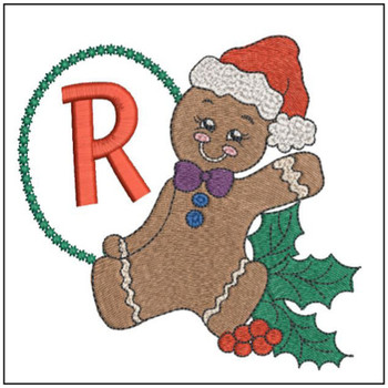 "Gingerbread Man ABC's - R - Fits in a 5x7"" Hoop - Instant Downloadable Machine Embroidery"