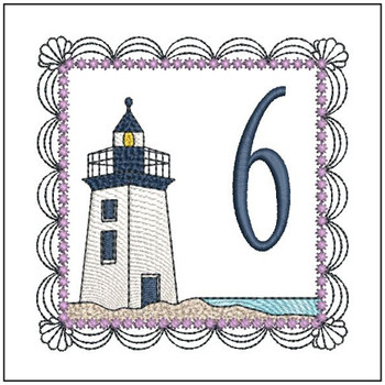 """Lighthouse ABC's - 6 - Fits in a 5x7"""" Hoop - Applique - Instant Downloadable Machine Embroidery"""