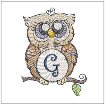 "Owl ABC's - G - Fits in a 4x4"" Hoop - Instant Downloadable Machine Embroidery"