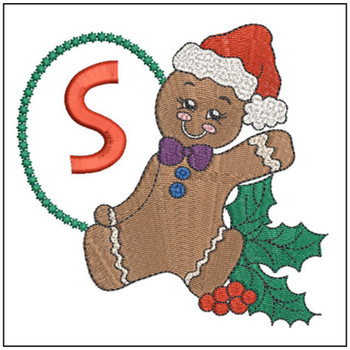 """Gingerbread Man ABC's - S - Fits in a 5x7"""" Hoop - Instant Downloadable Machine Embroidery"""