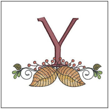 Aspen Leaf ABC's - Y - Embroidery Designs