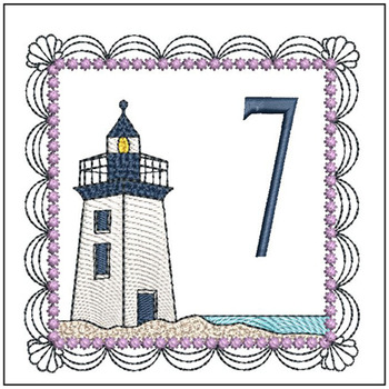 "Lighthouse ABC's - 7 - Fits in a 5x7"" Hoop - Applique - Instant Downloadable Machine Embroidery"