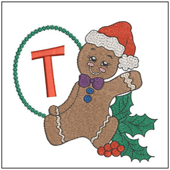 """Gingerbread Man ABC's - T - Fits in a 5x7"""" Hoop - Instant Downloadable Machine Embroidery"""