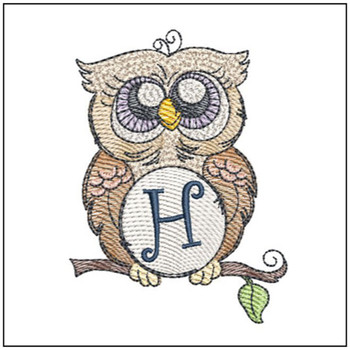 "Owl ABC's - H - Fits in a 4x4"" Hoop - Instant Downloadable Machine Embroidery"