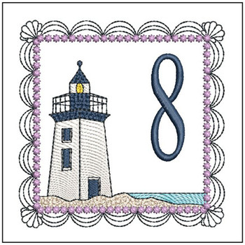 "Lighthouse ABC's - 8 - Fits in a 5x7"" Hoop - Applique - Instant Downloadable Machine Embroidery"