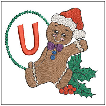 "Gingerbread Man ABC's - U - Fits in a 5x7"" Hoop - Instant Downloadable Machine Embroidery"
