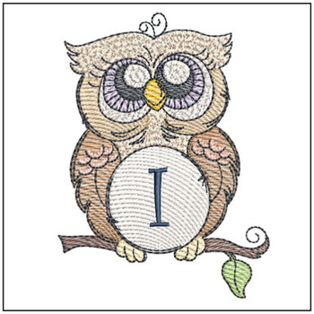 "Owl ABC's - I - Fits in a 4x4"" Hoop - Instant Downloadable Machine Embroidery"