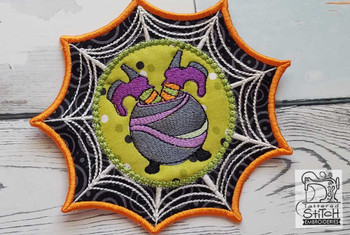 "Spiderweb Cauldron  - Fits in a 5x7"" Hoop - Instant Downloadable Machine Embroidery"