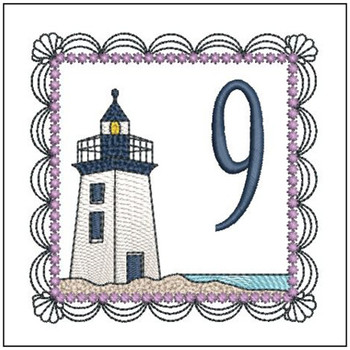 """Lighthouse ABC's - 9 - Fits in a 5x7"""" Hoop - Applique - Instant Downloadable Machine Embroidery"""