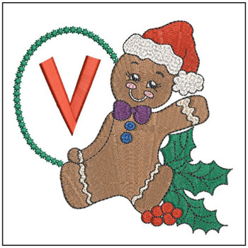 Gingerbread Man ABC's - V - Embroidery Designs