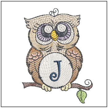 "Owl ABC's -J- Fits in a 4x4"" Hoop - Instant Downloadable Machine Embroidery"