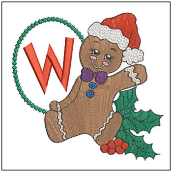 "Gingerbread Man ABC's - W - Fits in a 5x7"" Hoop - Instant Downloadable Machine Embroidery"