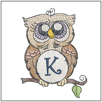 "Owl ABC's -K- Fits in a 4x4"" Hoop - Instant Downloadable Machine Embroidery"