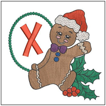 """Gingerbread Man ABC's - X - Fits in a 5x7"""" Hoop - Instant Downloadable Machine Embroidery"""