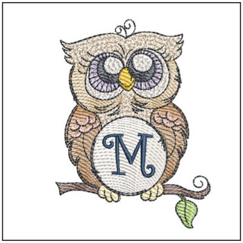 "Owl ABC's - M - Fits in a 4x4"" Hoop - Instant Downloadable Machine Embroidery"