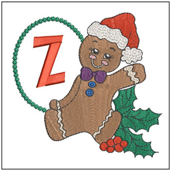 Gingerbread Man ABC's - Z - Embroidery Designs