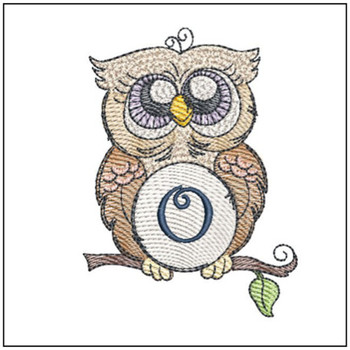 "Owl ABC's - O - Fits in a 4x4"" Hoop - Instant Downloadable Machine Embroidery"