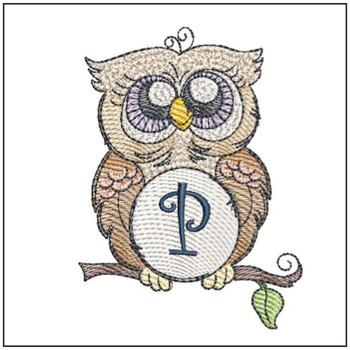 "Owl ABC's - P - Fits in a 4x4"" Hoop - Instant Downloadable Machine Embroidery"