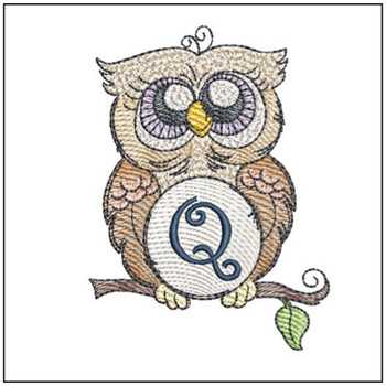 "Owl ABC's - Q - Fits in a 4x4"" Hoop - Instant Downloadable Machine Embroidery"