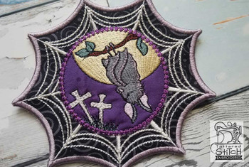 "Spiderweb Bat - Fits in a 5x7"" Hoop - Instant Downloadable Machine Embroidery"