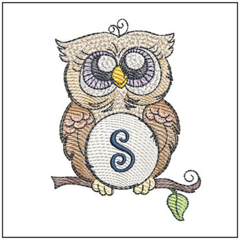 "Owl ABC's - S - Fits in a 4x4"" Hoop - Instant Downloadable Machine Embroidery"