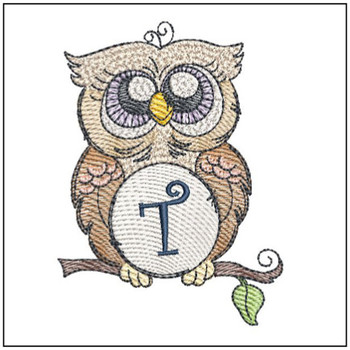 "Owl ABC's - T - Fits in a 4x4"" Hoop - Instant Downloadable Machine Embroidery"