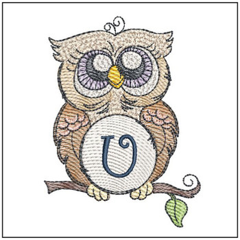 "Owl ABC's - U - Fits in a 4x4"" Hoop - Instant Downloadable Machine Embroidery"