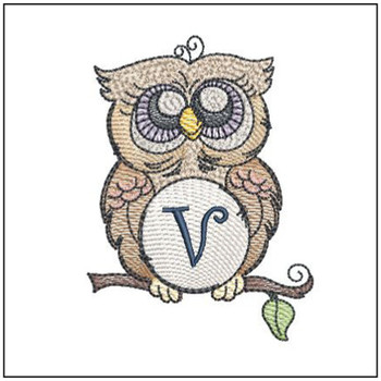 "Owl ABC's - V - Fits in a 4x4"" Hoop - Instant Downloadable Machine Embroidery"